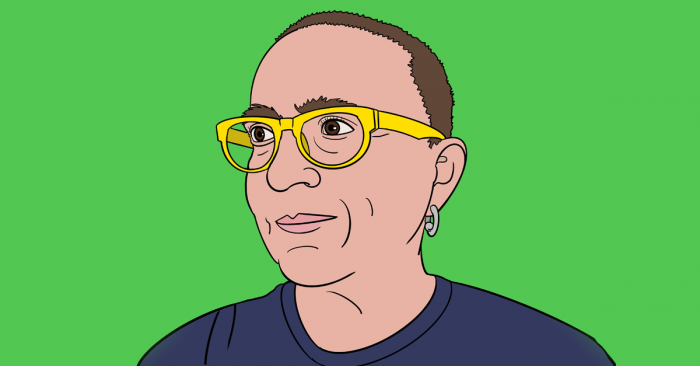 An illustration of the head and shoulders of a person with short cropped brown hair, yellow glasses, a small gold hoop earring in the visible ear, wearing a dark brown t shirt. The illustration is simple linework, almost a pop art style, with a neon green background. The person is looking off to the left and smiling slightly.