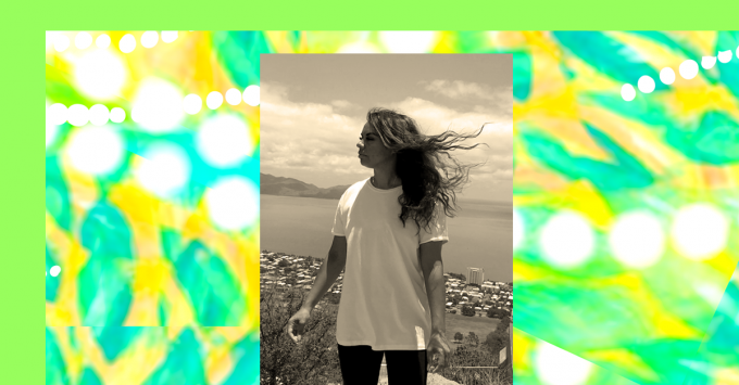 Seafoam green borders an abstract pattern. Aqua leaves splash across a golden background, lines of white dots flow across the pattern in different directions. Superimposed over this is a greyscale photo of Stephani Beck gazing out across a coastal backdrop, her hair blowing in the wind.