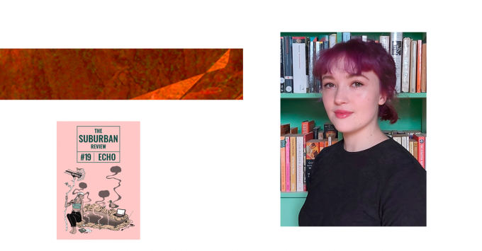 A photo of Alicia is superimposed on a white background. On the left is a strip of brown and orange rugged textures and a thumbnail of The Suburban Review #19 cover. The photo shows Alicia standing in front of a green bookshelf that is chockful of books. Alicia has vivid purple hair pulled back into a ponytail and a fringe. She is smiling warmly into the camera.
