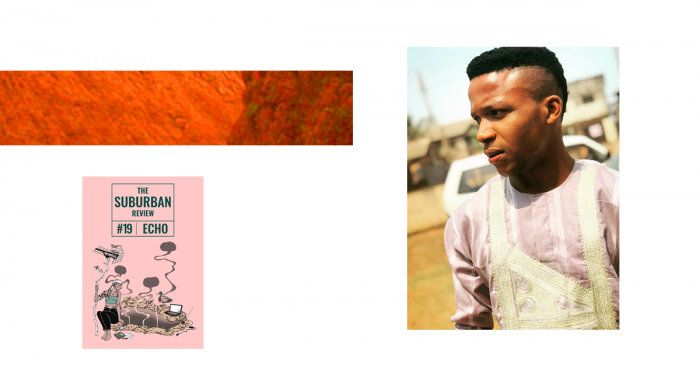 A collaged image, consisting of a protrait of Nnadi Samuel, the cover of issue #19 Echo, and a rectangle of red rockface texture. Nnadi has dark skin and wears a long-sleeved light-red and white striped shirt with gold embroidered detail on the front. His hair is dark and cropped short on the sides. He is looking off to the left with a serious expression.