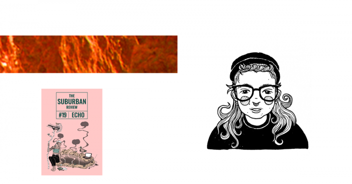 A collage of images, including the suburban review Issue 19 cover, a textured orange rectangle, and a black and white illustration of Icky Brothers. Icky's self-portrait shows them wearing dark rimmed glasses, a nose ring, a beanie or hat and a dark jumper. Icky's hair flares out from under the hat/beanie, and seems shorter at the front and longer than shoulder length curling over their shoulders from the back. They have rosy cheeks and a slightly poked out tongue.