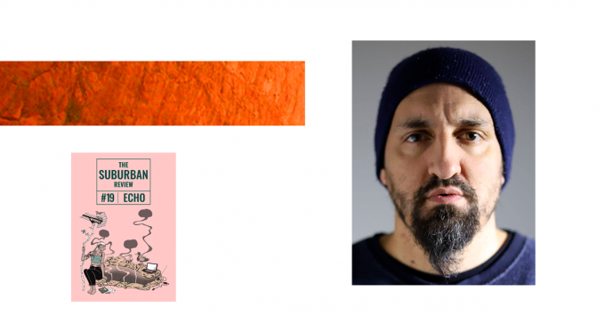 A collage of images, including the suburban review Issue 19 cover, a textured orange rectangle, and a portrait of Safdar Ahmed. Safdar is looking straight down the barrel of the camera. He is wearing a blue beanie and a blue shirt, and has dark facial hair. His expression is very serious.