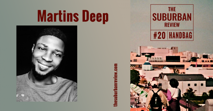An image of Martins Deep beside an image of the cover of issue #20. The portrait of Martins Deep is greyscale. Martins has dark skin, wearing a t-shirt, and smiling at the camera.