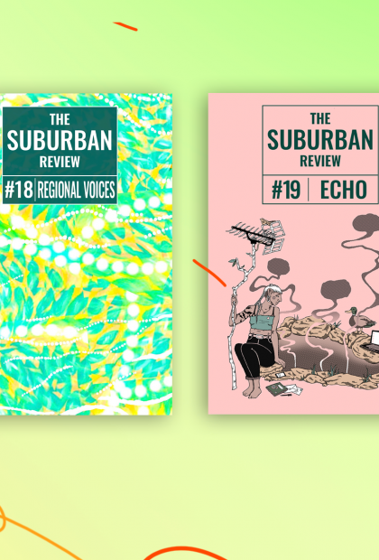 On a yellow-green background, with playful orange scribbles, the four covers of issues #17: THEFT, #18: REGIONAL VOICES, #19: ECHO, and #20: HANDBAG are laid out side by side.