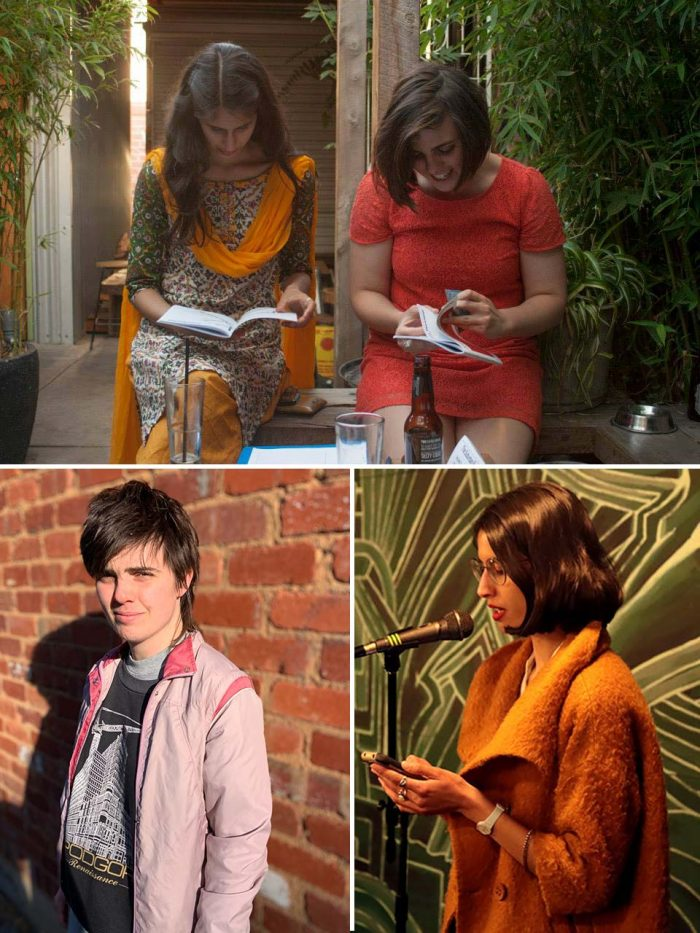 A photo collage of three photos of editor-in-chief Anupama and deputy editor Zoe. On the top is a landscape portrait of them reading in a warmly lit backyard. On the bottom left is a portrait of Zoe standing against a brick wall with the sun on her smiling face. On the right is a photo of Anupama reading from her phone into a microphone. She is wearing a brown fuzzy coat and lots of rings.